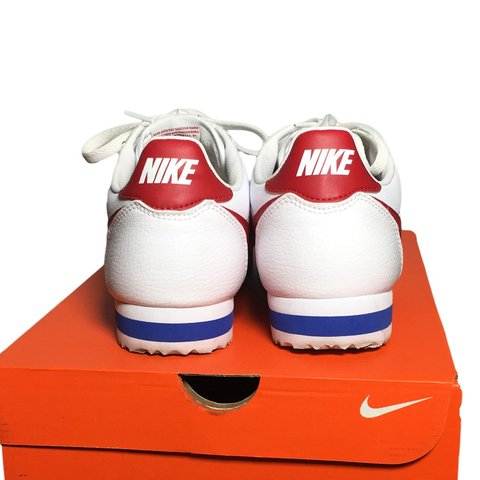 332ad0ce6c6395 Nike Cortez White Red Blue Hardly worn Kept in clean  95 - Depop