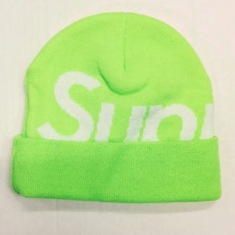 80a9c1dd782 New without tags SUPREME neon green big logo  supremebeanie - Depop