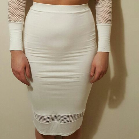 2eb99764510602 High Waisted Cream   Net Skirt. Part of Co-ord  missguided - Depop
