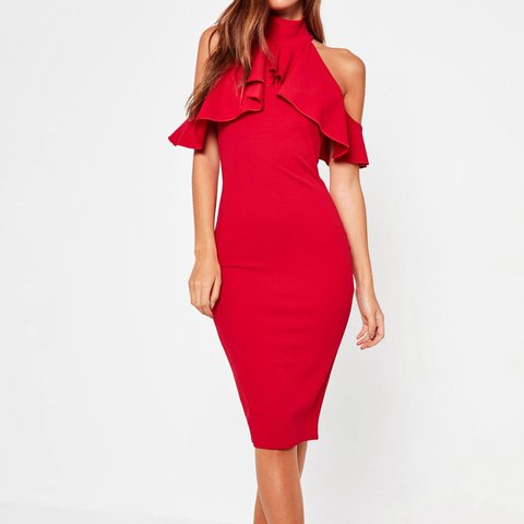 845e02cf1e3 Red bodycon frill cold shoulder dress. Worn once perfect for - Depop