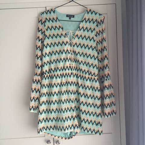 db7a28810e60 Missoni style Bell Sleeve Playsuit bought from Sam and Ties - Depop