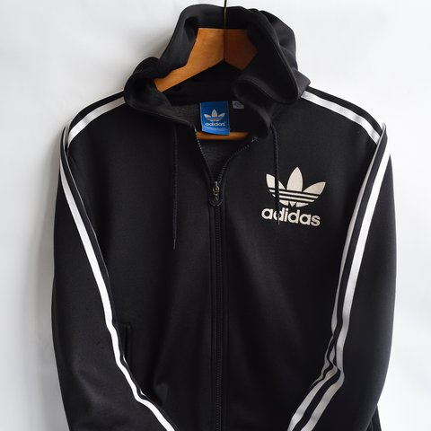 Vintage Men S Adidas Originals Zip Up Hooded Jacket Has The Depop
