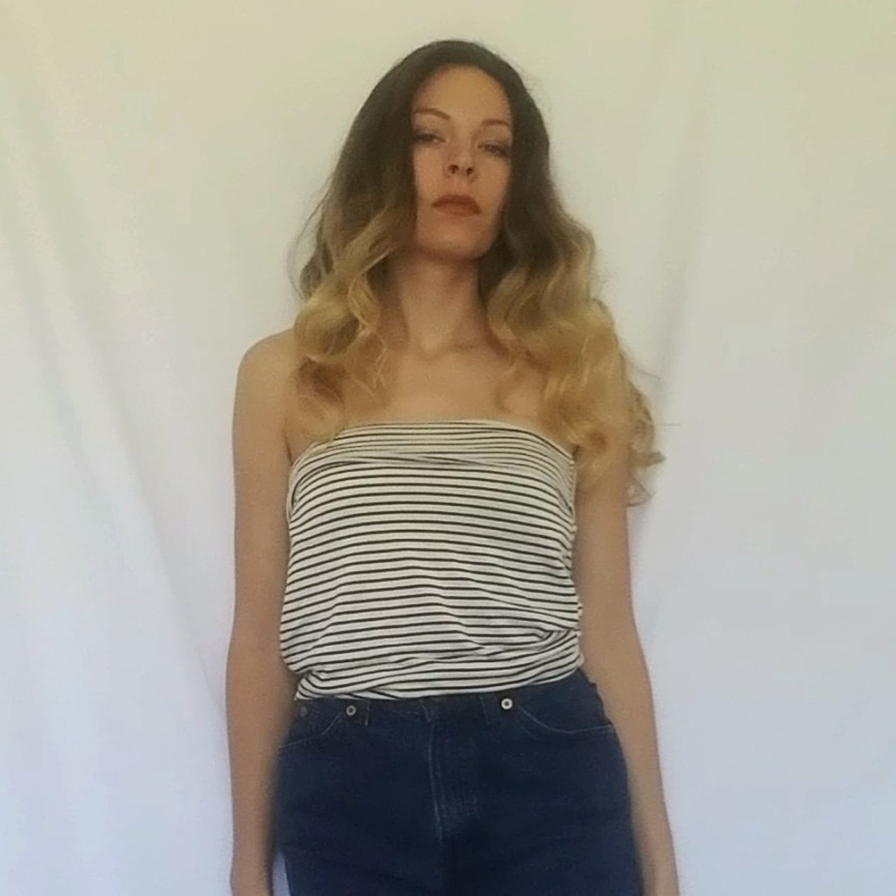 23883f39db7 Basic & versatile striped tube top. White with black pin can - Depop