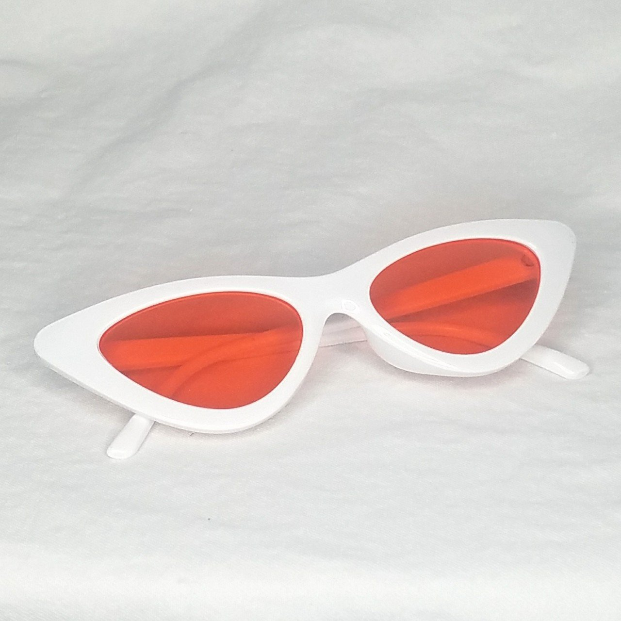 1b510ad4a51 Vintage style slim cat eye sunglasses. Glossy white w  🍑 UV - Depop