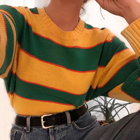 1b62beda64d Vintage Striped Sweater Gorgeous yellow