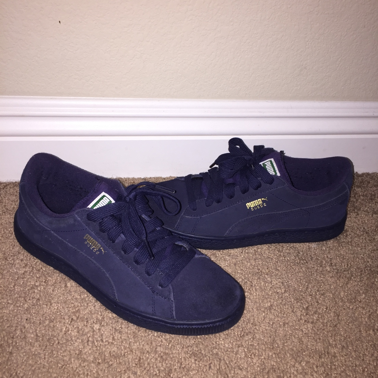 more photos b253f 02db5 All navy blue suede pumas size 5 mens 6 in womens - Depop
