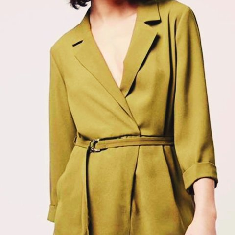23d855982b Stunning olive coloured Topshop wrap front playsuit with cut - Depop