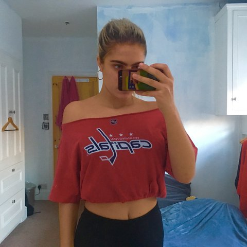 e318a7bee5c53 Cropped reworked vintage football tee  - off the shoulder a - Depop