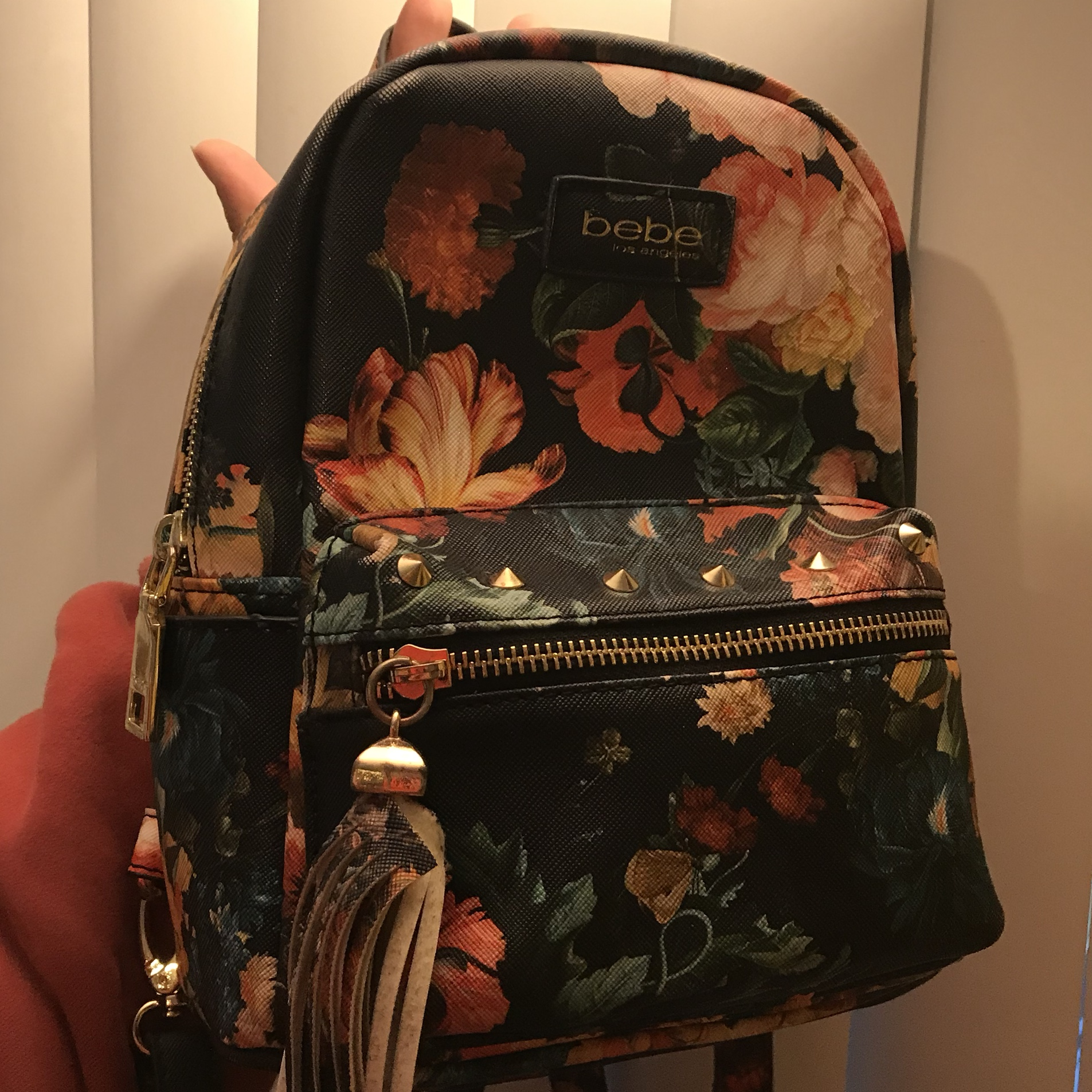 bebe floral mini backpack the tassel is peeling    - Depop