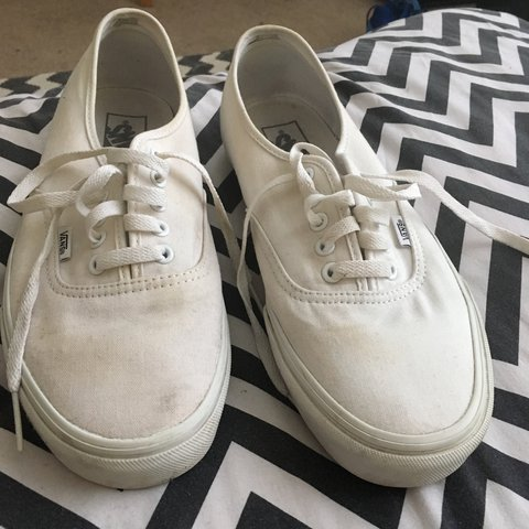 59a5a5a01ad193 Vans white canvas authentic size 9. Worn bury in good though - Depop