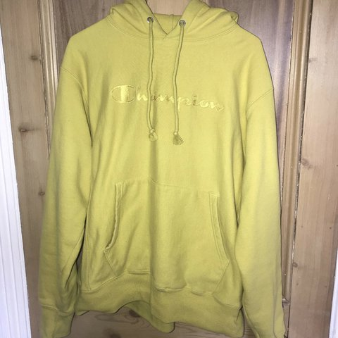 amazing price good out x most desirable fashion Champion reverse weave lime green hoodie Size men's... - Depop