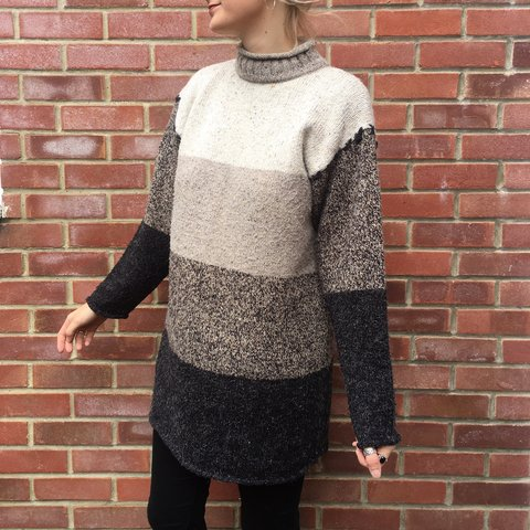 9f757f8a632 Vintage long wool blend jumper dress with a roll neck   and - Depop