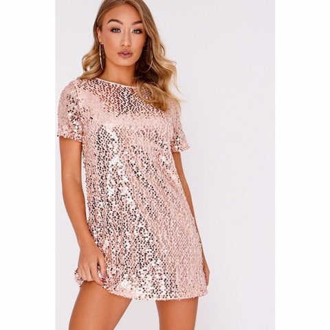 11da16a4aa In the style rose gold sequin t shirt dress. Size 10 but as - Depop