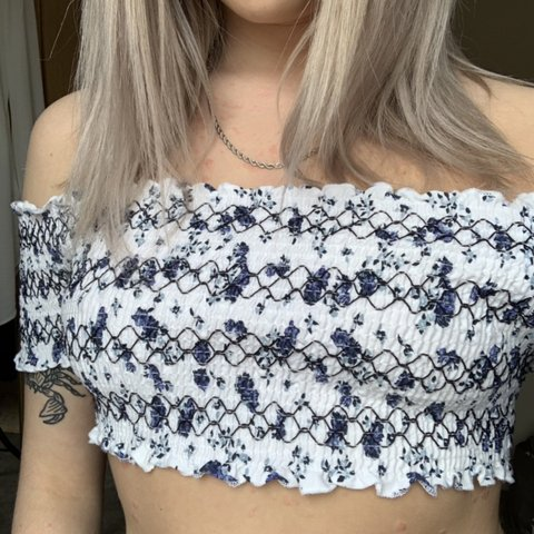 ddb101f390b02 Urban outfitters pins and needle crop top off the shoulder ! - Depop