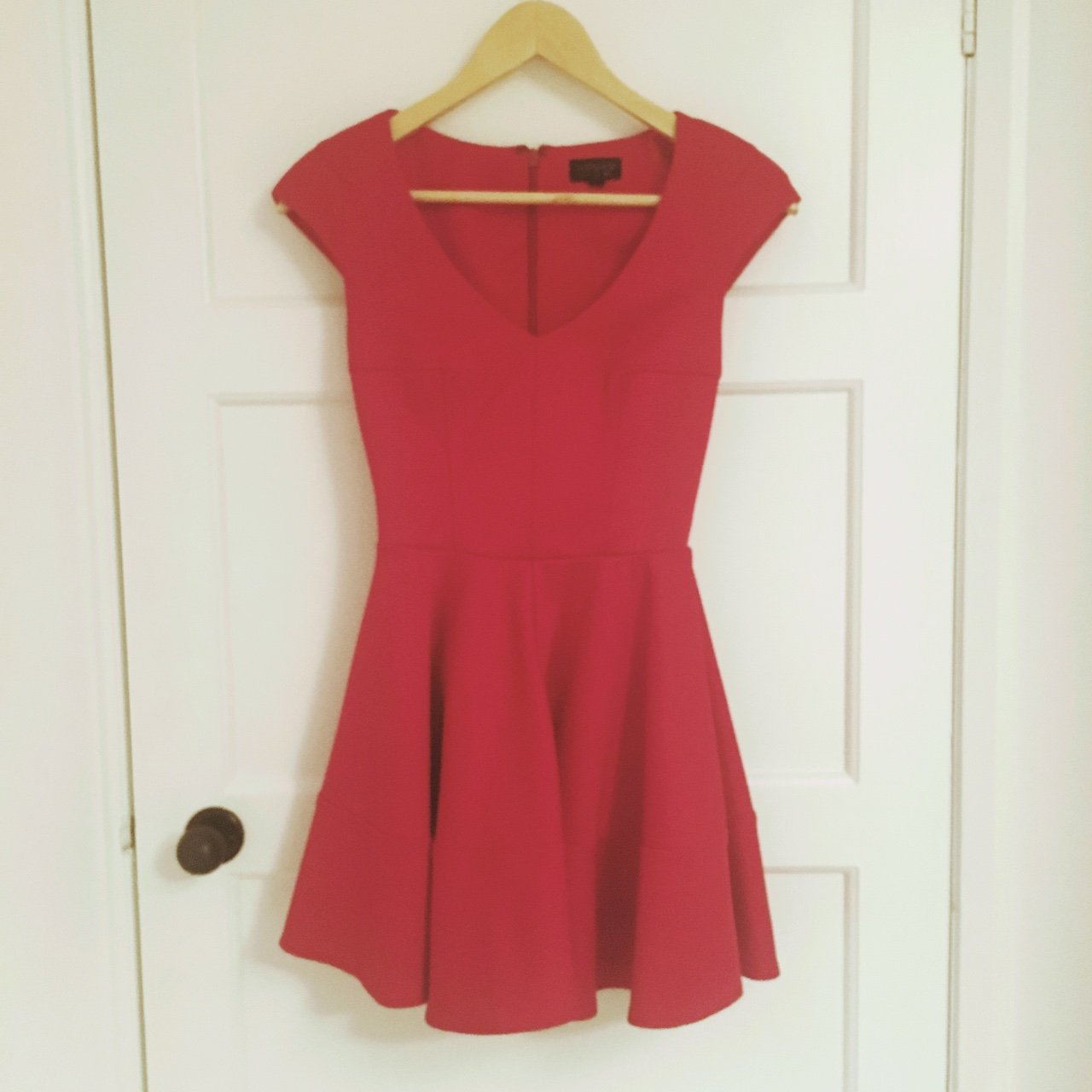 55ca23f52eff Gorgeous red TOPSHOP skater dress