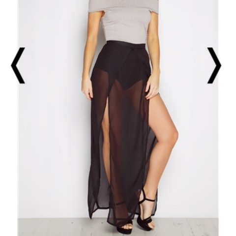 f9654d0378 SALE. Black sheer layered maxi skirt. Bought from miss pap. - Depop