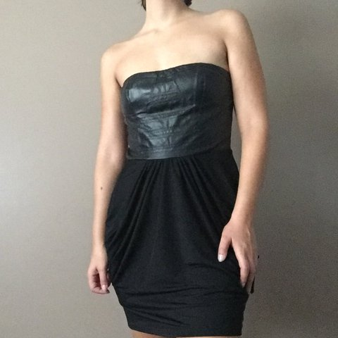 f265e292c54e @drewisabella. 2 years ago. Los Angeles, United States. Black faux leather  strapless dress. Lulu's ...