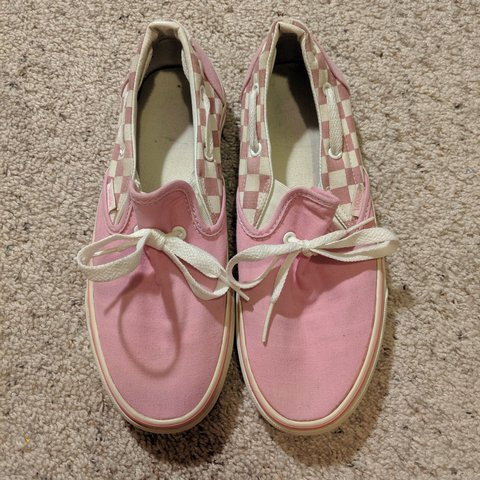 Pink vans, checkered backside The laces