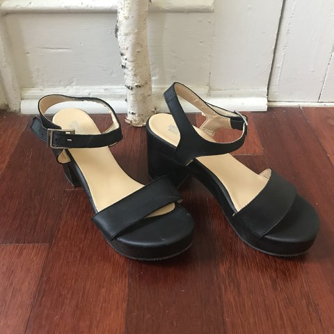 4ed05aa7de6 Black wood and leather American Apparel platforms with non a - Depop