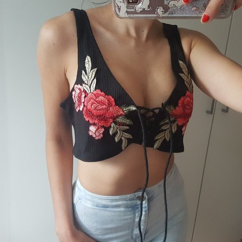 77d33adde0faf Cute embroidered crop top • rose embroidery • lace up crop • - Depop