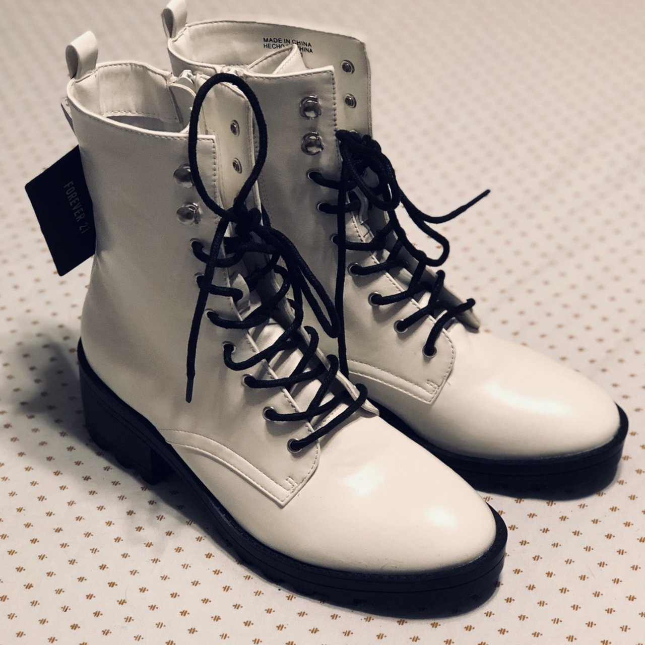 Brand new white combat boots from Forever 21. Never been but - Depop 1dadcae9b6