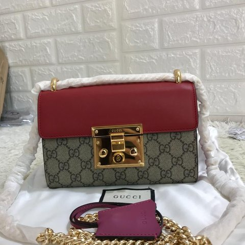 a1716df40e0 Red Pink Gucci padlock bag with gucci canvas. Brand new