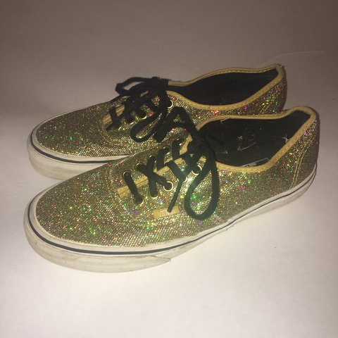 8fae65e5d90231 Gold glitter Vans Authentic shoes! Pre-loved with lots of on - Depop