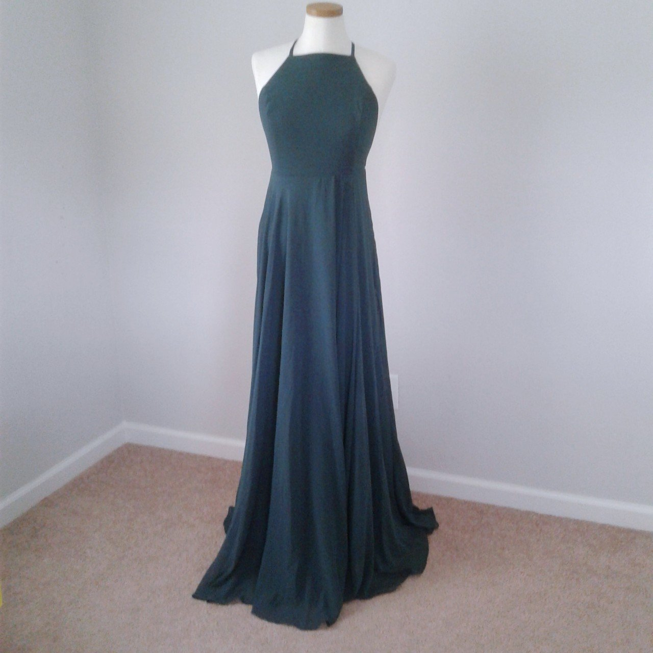 5bb6e6cde83c lulus mythical kind of love dark green maxi dress. has high - Depop