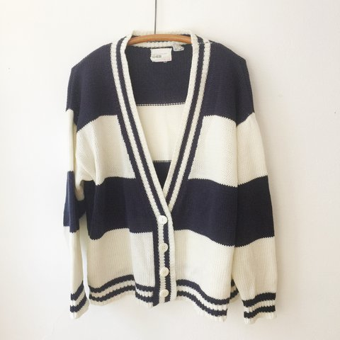 53ab481a4abb 80s cardigan sweater by DEB. Off white and navy stripes, Sz - Depop