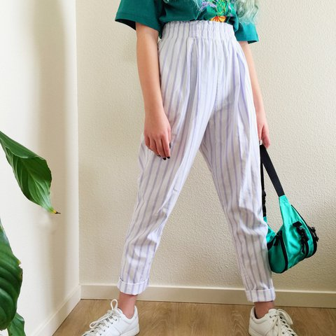 bc623dcd0039  propsandpieces. 11 months ago. United States. Vintage lavender striped  sporty trousers 💜 These 80s pants are very high waisted ...