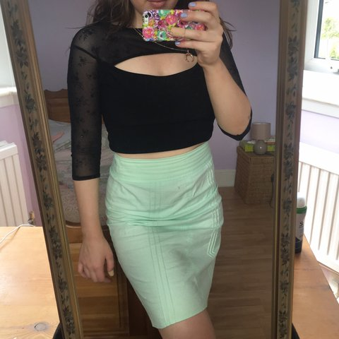 6c03a41664 Cute af pastel green a-line above the knee skirt from old a - Depop