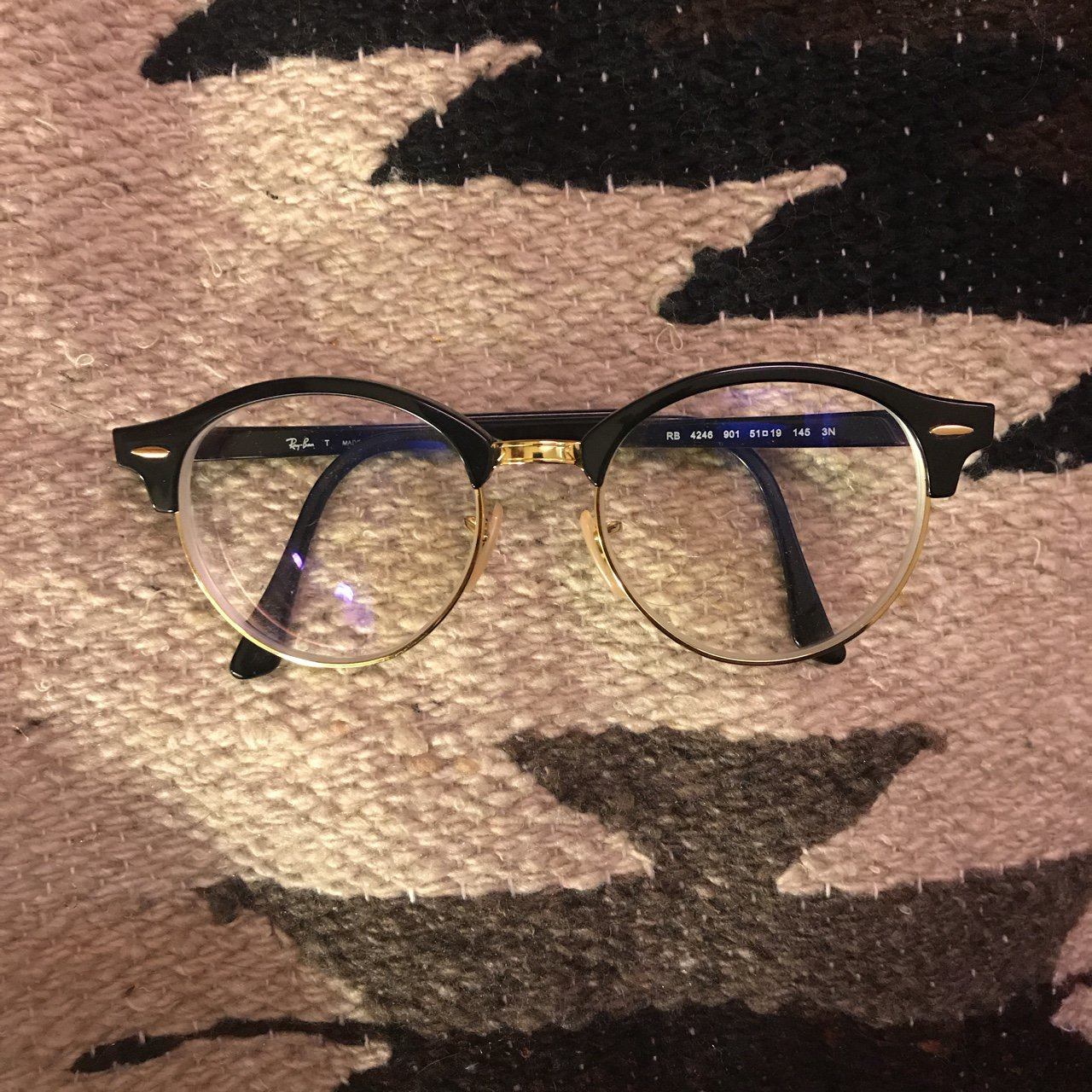 c56a411ced Black and gold Ray-Ban glasses. These currently have my in a - Depop