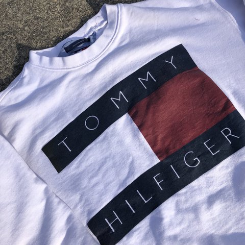 c574e2df @thecomeupsa. last year. San Antonio, United States. Vintage 90s Tommy  Hilfiger big flag logo crewneck sweater. Great condition, no ...
