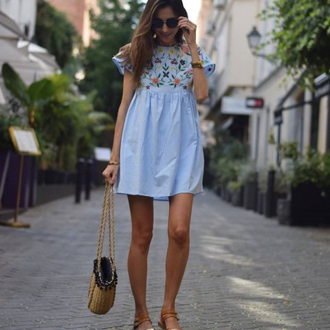 f97348a5cc7 Zara Sky Blue Embroidered Jumpsuit Dress Brand new with tag - Depop