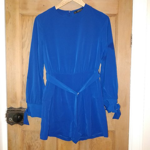 c18c66efec ZARA playsuit worn once. Cobalt Blue Belt is S (8 10) - Depop