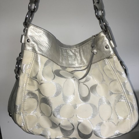 a3a202f222fc Large and authentic silver and white Coach bag  Coach  purse - Depop