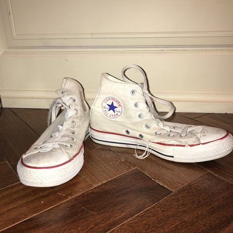 35558e8aeb6a very very worn out white chuck taylors. size 8 womens size 6 - Depop