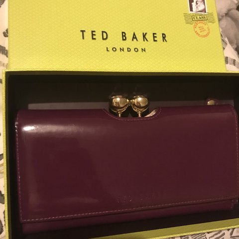 1d3fc4fc2 Purple Ted Baker purse with grey floral pattern inside. very - Depop