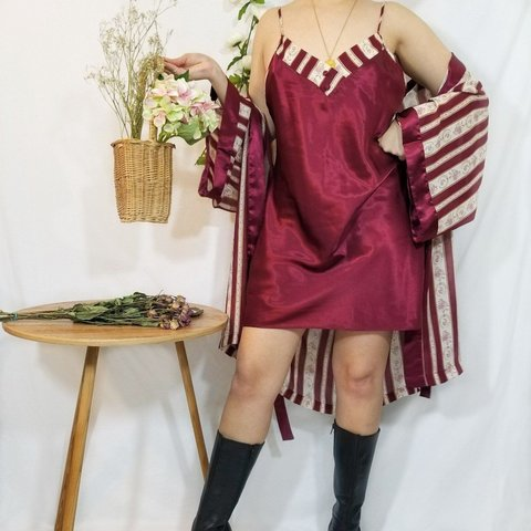 4e8c83a8dbd3 Vintage maroon and beige slip dress and robe lounge set from - Depop