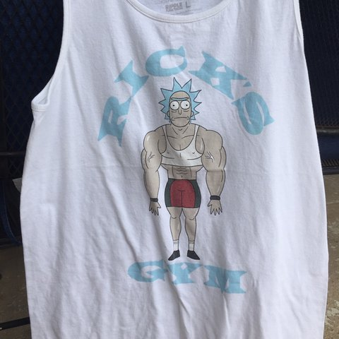 2939870a3 @peachgummy. in 5 hours. United States. rick and morty official merch - rick's  gym - men's white ...