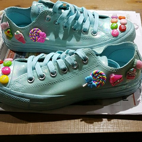 Brand New Baby Blue Holographic Converse Sneakers Decorated Depop