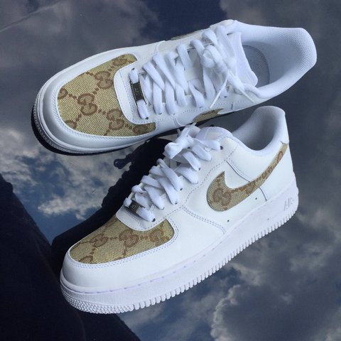 Custom white air forces - Depop 2845b8f86