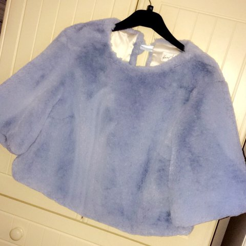 43793117a2 Pastel blue Kevan jon faux fur jacket   top can be worn both - Depop