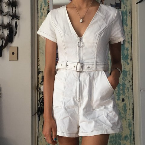 f43ed9ccd700 Universal store Luck Trouble contrast stitch playsuit in for - Depop