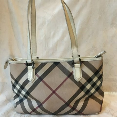 1bf6985fd503 Authentic Burberry Beige Novacheck Canvas White Leather and - Depop