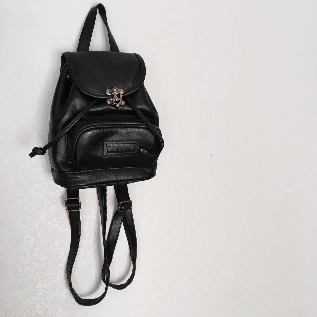 Little black faux leather backpack purse. Small and simple. - Depop 481c41a6d63df