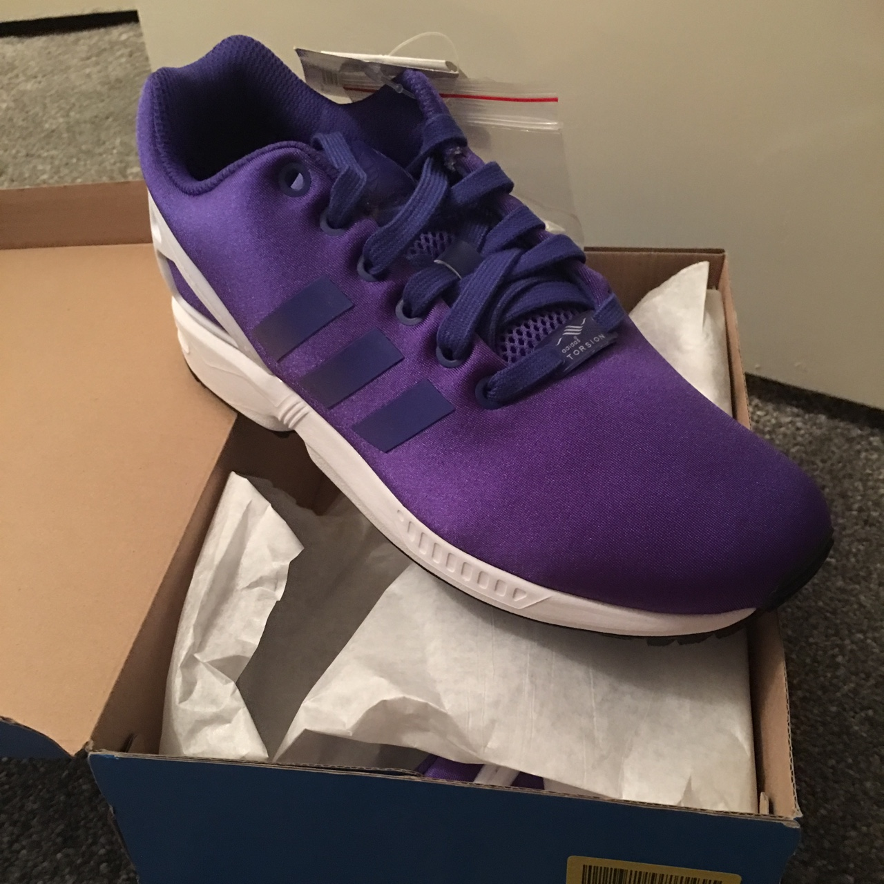 detailed look a6af8 4f397 Adidas ZX Flux Purple and White UK Size 5 with tags... - Depop