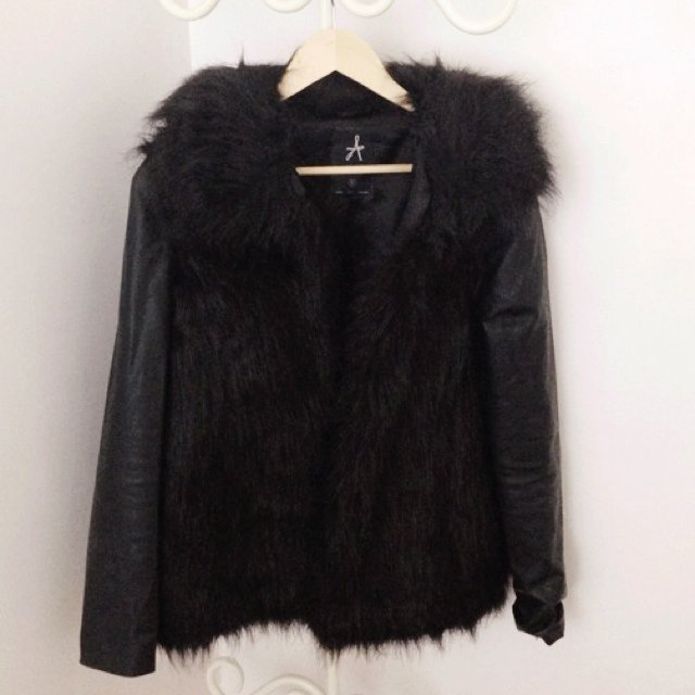 Primark Black faux leather sleeves & faux fur coat. Size Small ...