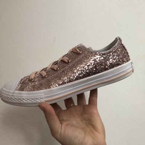47b640358973 Size 4 pink glitter converse, been worn a couple of times in - Depop