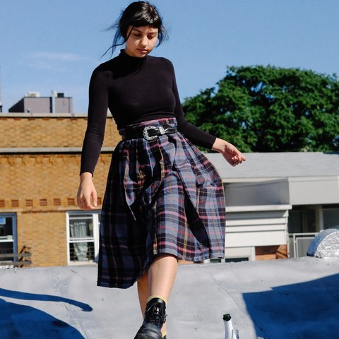 b7a2e8b8640c @bxtchvintage. 8 months ago. New York, United States. Vintage Wool Plaid Midi  Skirt